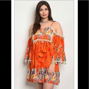 Dresses & Skirts - Plus Size Orange Off Shoulder Tunic Dress